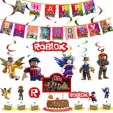 WENTS Video Gaming Spiel Partyzubehör Set Roblox Videospiel Party Zubehör Geburtstagsfeier Partydekor für Spielliebhaber, Junge Kinder Geburtstag Dekoration - 1