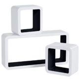 WOLTU RG9229sz Wandregal Cube Regal 3er Set Würfelregal Hängeregal, weiß-schwarz - 1