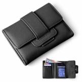 xperg Damen Trifold Geldbörse aus weichem Leder, Kreditkartenetui, Geldbeutel mit Münzfach, Geldkassette für Damenmädchen, Geschenkverpackung Schwarz - 1