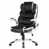 YAMASORO Ergonomischer Bürostuhl mit hoher Rückenlehne, Chefsessel Schreibtischstuhl mit Armlehnen, Höhenverstellung, Tragfähigkeit 150 kg (Schwarz) - 1