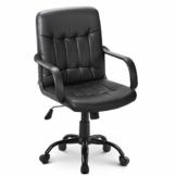 64Gril Bürostuhl Kunstleder Office Chair höhenverstellbar Drehstuhl für Büro/Wohnzimmer, Schwarz (Schwarz) - 1
