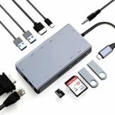 ABLEWE 11 in 1 USB C Hub Adapter Type C Hub Station mit 4K HDMI,VGA,PD-Ladeanschluss,SD/TF Kartenleser,4 USB Ports,RJ45 Ethernet-Port und 3,5mm Audio Type C-Docking für mehr Typ C Geräte - 1
