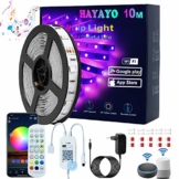 Alexa LED Strip 10m/1Rolle, HAYAYO Smart WiFi APP-Steuerung RGB LED Streifen Beleuchtung, Musik Sync LED Band Lichterketten für Haus Küche Party Bar, LED Leiste Kompatibel mit Alexa Google Assistant - 1