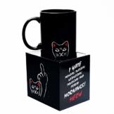 ANGRY CAT – STINKEKATZE I böse Katzen Tasse mit lustigem Spruch I hate Monday I Thermoeffekt Tasse heiß/kalt Zaubertasse Kaffeetasse Kaffeebecher mit wechseldem Motiv I aus Keramik Größe 340ml - 1