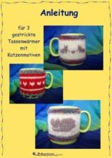 Anleitung für drei gestrickte Tassenwärmer mit Katzenmotiven - 1