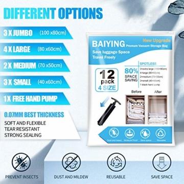 BAIYING Vakuumbeutel, 12 Stück 4 Größe Vakuum Reise Aufbewahrungsbeutel, Wiederverwendbar Platzsparende Aufbewahrungstasche für Kleidung, Bettwäsche und Bettdecken (Bis zu 80% Kompression) - 2