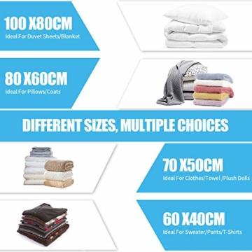 BAIYING Vakuumbeutel, 12 Stück 4 Größe Vakuum Reise Aufbewahrungsbeutel, Wiederverwendbar Platzsparende Aufbewahrungstasche für Kleidung, Bettwäsche und Bettdecken (Bis zu 80% Kompression) - 3