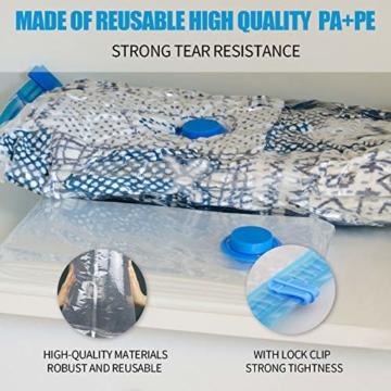 BAIYING Vakuumbeutel, 12 Stück 4 Größe Vakuum Reise Aufbewahrungsbeutel, Wiederverwendbar Platzsparende Aufbewahrungstasche für Kleidung, Bettwäsche und Bettdecken (Bis zu 80% Kompression) - 5