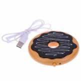 Cabilock USB-Beheizte Kaffeetasse Wärmer Donut-Untersetzer für Den Home-Office-Schreibtisch(Gelber Kaffee) - 1