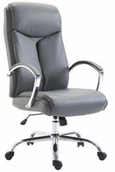 CLP XL Bürostuhl Vaud Mit Kunstlederbezug I Chefsessel Mit Armlehnen I Bürodrehstuhl Bis 140 KG Belastbar, Farbe:grau - 1