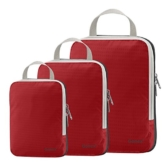 Compression Packing Cubes 3/4er Set, Gonex Kleidertaschen 4-teilig Verpackungswürfel, Kleidertaschen Set, Kofferorganizer Reise Würfel, Rot(3er), groß - 1
