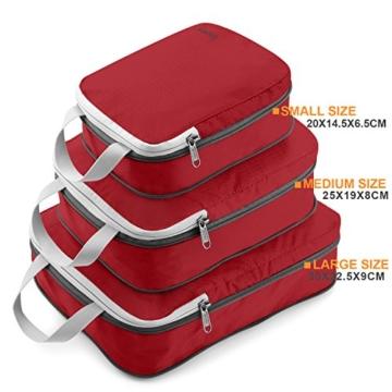 Compression Packing Cubes 3/4er Set, Gonex Kleidertaschen 4-teilig Verpackungswürfel, Kleidertaschen Set, Kofferorganizer Reise Würfel, Rot(3er), groß - 6