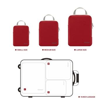 Compression Packing Cubes 3/4er Set, Gonex Kleidertaschen 4-teilig Verpackungswürfel, Kleidertaschen Set, Kofferorganizer Reise Würfel, Rot(3er), groß - 7