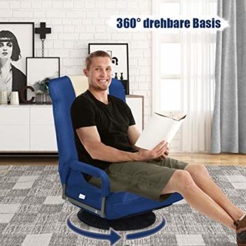 COSTWAY Bodenstuhl 360° drehbar, Bodensessel mit 6-Fach Verstellbarer Rückenlehne, Game Sessel gepolstert, Bodensofa Meditationsstuhl bis 140kg belastbar, Lazy Sofa (Blau und weiß) - 2
