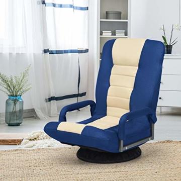 COSTWAY Bodenstuhl 360° drehbar, Bodensessel mit 6-Fach Verstellbarer Rückenlehne, Game Sessel gepolstert, Bodensofa Meditationsstuhl bis 140kg belastbar, Lazy Sofa (Blau und weiß) - 3