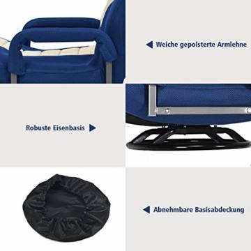 COSTWAY Bodenstuhl 360° drehbar, Bodensessel mit 6-Fach Verstellbarer Rückenlehne, Game Sessel gepolstert, Bodensofa Meditationsstuhl bis 140kg belastbar, Lazy Sofa (Blau und weiß) - 4