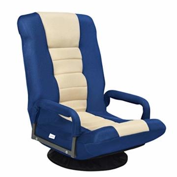COSTWAY Bodenstuhl 360° drehbar, Bodensessel mit 6-Fach Verstellbarer Rückenlehne, Game Sessel gepolstert, Bodensofa Meditationsstuhl bis 140kg belastbar, Lazy Sofa (Blau und weiß) - 1