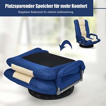 COSTWAY Bodenstuhl 360° drehbar, Bodensessel mit 6-Fach Verstellbarer Rückenlehne, Game Sessel gepolstert, Bodensofa Meditationsstuhl bis 140kg belastbar, Lazy Sofa (Blau und weiß) - 6