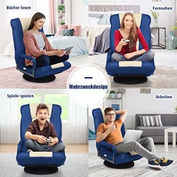 COSTWAY Bodenstuhl 360° drehbar, Bodensessel mit 6-Fach Verstellbarer Rückenlehne, Game Sessel gepolstert, Bodensofa Meditationsstuhl bis 140kg belastbar, Lazy Sofa (Blau und weiß) - 7