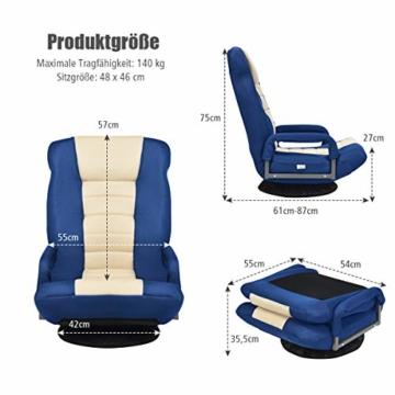 COSTWAY Bodenstuhl 360° drehbar, Bodensessel mit 6-Fach Verstellbarer Rückenlehne, Game Sessel gepolstert, Bodensofa Meditationsstuhl bis 140kg belastbar, Lazy Sofa (Blau und weiß) - 8