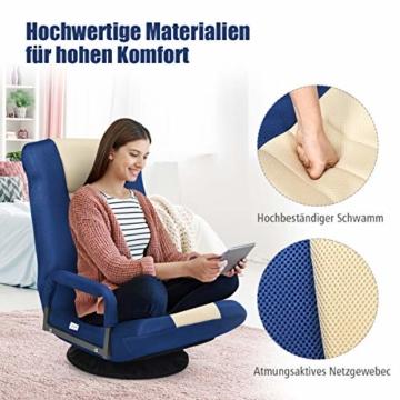 COSTWAY Bodenstuhl 360° drehbar, Bodensessel mit 6-Fach Verstellbarer Rückenlehne, Game Sessel gepolstert, Bodensofa Meditationsstuhl bis 140kg belastbar, Lazy Sofa (Blau und weiß) - 9