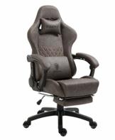Dowinx Gaming Stuhl Bürostuhl Ergonomischer PC-Stuhl mit Massage Lendenwirbelstütze, Vorteil Stil PU Leder Hohe Rückenlehne Verstellbarer Drehsessel mit Fußstütze (Braun) - 1
