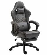 Dowinx Gaming Stuhl Bürostuhl Ergonomischer PC-Stuhl mit Massage Lendenwirbelstütze, Vorteil Stil PU Leder Hohe Rückenlehne Verstellbarer Drehsessel mit Fußstütze (Grau) - 1
