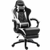 Dowinx Gaming Stuhl Ergonomischer Büro Lehnstuhl für PC mit Massage Lordosenstütze, Racing Stil Sessel PU-Leder-E-Sport-Gamer Stühle mit Ausziehbarem Fußraste (schwarz&weiß) - 1