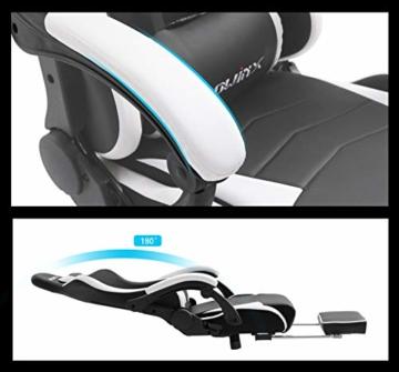 Dowinx Gaming Stuhl Ergonomischer Büro Lehnstuhl für PC mit Massage Lordosenstütze, Racing Stil Sessel PU-Leder-E-Sport-Gamer Stühle mit Ausziehbarem Fußraste (schwarz&weiß) - 3