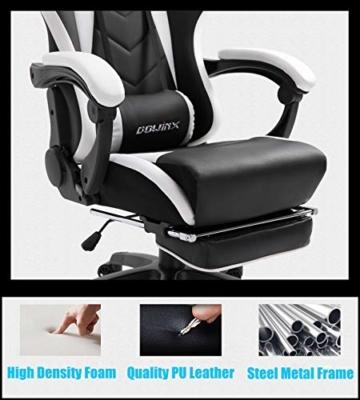 Dowinx Gaming Stuhl Ergonomischer Büro Lehnstuhl für PC mit Massage Lordosenstütze, Racing Stil Sessel PU-Leder-E-Sport-Gamer Stühle mit Ausziehbarem Fußraste (schwarz&weiß) - 4