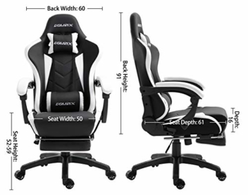 Dowinx Gaming Stuhl Ergonomischer Büro Lehnstuhl für PC mit Massage Lordosenstütze, Racing Stil Sessel PU-Leder-E-Sport-Gamer Stühle mit Ausziehbarem Fußraste (schwarz&weiß) - 5
