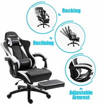 Dowinx Gaming Stuhl Ergonomischer Büro Lehnstuhl für PC mit Massage Lordosenstütze, Racing Stil Sessel PU-Leder-E-Sport-Gamer Stühle mit Ausziehbarem Fußraste (schwarz&weiß) - 6
