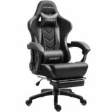 Dowinx Gaming Stuhl Ergonomischer Racing Stil Lehnstuhl mit Massage Lordosenstütze, Büro Sessel für Computer-PU-Leder-E-Sport-Gamer Stühle mit Ausziehbarem Fußraste (schwarz&grau) - 1
