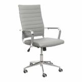eclife Ergonomischer Bürostuhl, Chefsessel Schreibtischstuhl drehstuhl mit Höhenverstellbare Armlehne, hoher Rückenlehne, Neigungsfunktion, Lordosenstütze, Chrome-Rädern (Grau) - 1