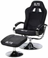 Elite Deluxe Gaming Sessel MG-300 - Bürostuhl - Gamingstuhl - Streamingstuhl - Drehstuhl - Ergonomisch - Racingoptik - Fußhocker - Chefsessel - Racing (Schwarz/Chrom) - 1