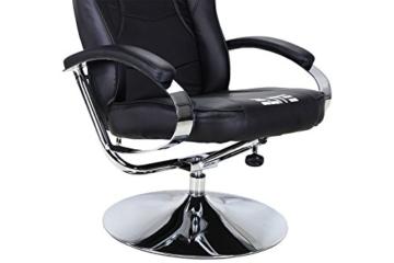Elite Deluxe Gaming Sessel MG-300 - Bürostuhl - Gamingstuhl - Streamingstuhl - Drehstuhl - Ergonomisch - Racingoptik - Fußhocker - Chefsessel - Racing (Schwarz/Chrom) - 3