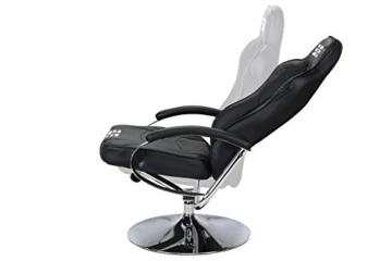 Elite Deluxe Gaming Sessel MG-300 - Bürostuhl - Gamingstuhl - Streamingstuhl - Drehstuhl - Ergonomisch - Racingoptik - Fußhocker - Chefsessel - Racing (Schwarz/Chrom) - 5