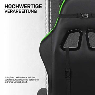 ELITE Racing Gaming Stuhl MG-200 - Bürostuhl – Kunstleder - Ergonomisch - Racer – Drehstuhl – Chair – Chefsessel – Schreibtischstuhl (Schwarz/Grün) - 3