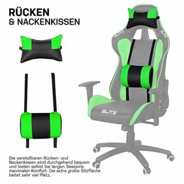 ELITE Racing Gaming Stuhl MG-200 - Bürostuhl – Kunstleder - Ergonomisch - Racer – Drehstuhl – Chair – Chefsessel – Schreibtischstuhl (Schwarz/Grün) - 5