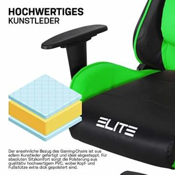 ELITE Racing Gaming Stuhl MG-200 - Bürostuhl – Kunstleder - Ergonomisch - Racer – Drehstuhl – Chair – Chefsessel – Schreibtischstuhl (Schwarz/Grün) - 6