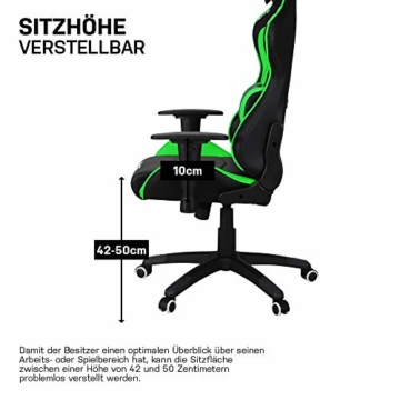 ELITE Racing Gaming Stuhl MG-200 - Bürostuhl – Kunstleder - Ergonomisch - Racer – Drehstuhl – Chair – Chefsessel – Schreibtischstuhl (Schwarz/Grün) - 7