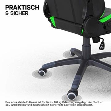 ELITE Racing Gaming Stuhl MG-200 - Bürostuhl – Kunstleder - Ergonomisch - Racer – Drehstuhl – Chair – Chefsessel – Schreibtischstuhl (Schwarz/Grün) - 8