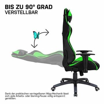 ELITE Racing Gaming Stuhl MG-200 - Bürostuhl – Kunstleder - Ergonomisch - Racer – Drehstuhl – Chair – Chefsessel – Schreibtischstuhl (Schwarz/Grün) - 9