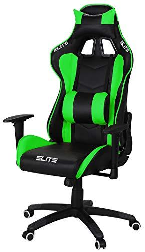 ELITE Racing Gaming Stuhl MG-200 - Bürostuhl – Kunstleder - Ergonomisch - Racer – Drehstuhl – Chair – Chefsessel – Schreibtischstuhl (Schwarz/Grün) - 1