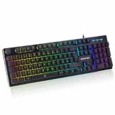 EZONTEQ Ergonomische Gaming Tastatur RGB LED Beleuchtung wasserdicht Tastenkappen Design QWERTZ Deutsche Layout für Bussiness, Gaming - 1