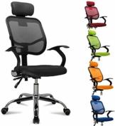 femor Bürostuhl, ergonomischer Schreibtischstuhl, Chefsessel mit Rollen, Bürodrehstuhl mit Verstellbarer Lordosenstütze, Kopfstütze, Armlehne und Rückenlehne, Höhenverstellung, bis 130kg, Schwarz - 1