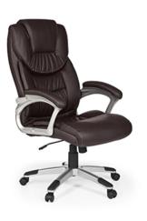 FineBuy Bürostuhl Mady Kunstleder Braun ergonomisch mit Kopfstütze | Design Chefsessel Schreibtischstuhl mit Wippfunktion | Drehstuhl hohe Rücken-Lehne X-XL 120 kg - 1