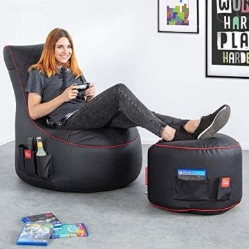 GAMEWAREZ Crimson Hurricane 2.0 Gaming Sitzsack, Made in Germany, für PS4, XBOX360, XboxOne, Nintendo DS, Nintendo Switch, Smartphone. Schwarzes Kunstleder mit rotem Keder, Tasche und Headsethalterung - 2
