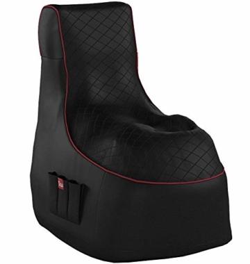 GAMEWAREZ Crimson Hurricane 2.0 Gaming Sitzsack, Made in Germany, für PS4, XBOX360, XboxOne, Nintendo DS, Nintendo Switch, Smartphone. Schwarzes Kunstleder mit rotem Keder, Tasche und Headsethalterung - 12