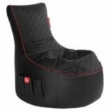 GAMEWAREZ Crimson Hurricane 2.0 Gaming Sitzsack, Made in Germany, für PS4, XBOX360, XboxOne, Nintendo DS, Nintendo Switch, Smartphone. Schwarzes Kunstleder mit rotem Keder, Tasche und Headsethalterung - 1